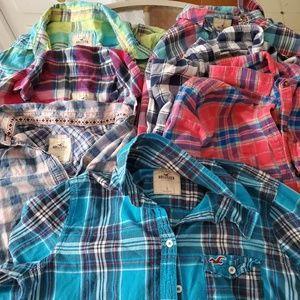 7 Hollister flannel long sleeve tops